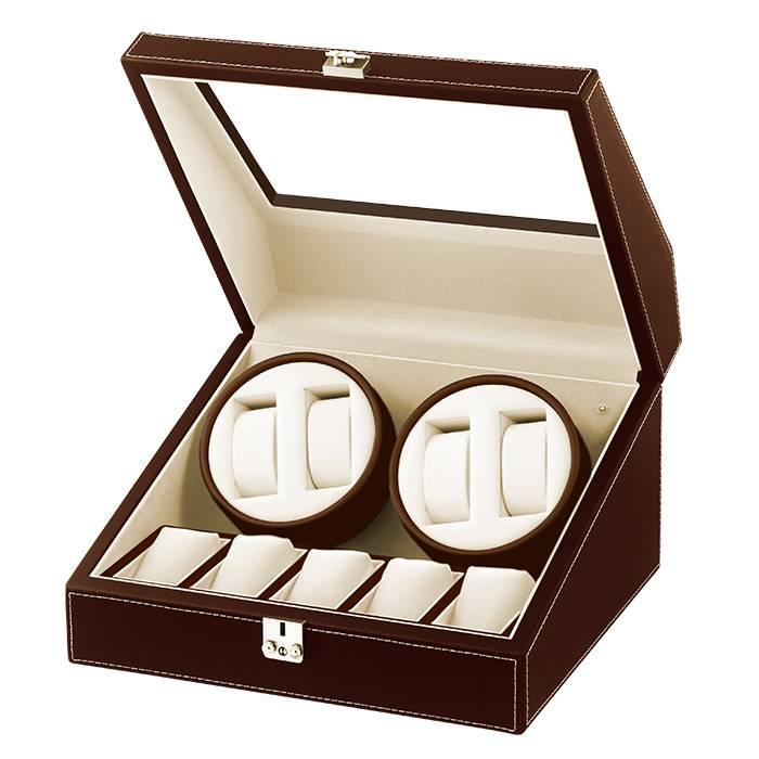 送料無料 合皮 2連 LEDライト付き ワインディングマシーン 鍵付き ACアダプター 時計ホルダー 説明書 保証書付き
