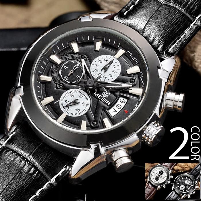 【店内全品ポイント10倍&クーポン割引!12/26(木)1:59迄】腕時計 メンズ クロノグラフ 1年保証 メンズ 腕時計 カレンダー クロノグラフ搭載 44mm ビッグフェイス 腕時計 AP01 AOR-A お年玉 プレゼント