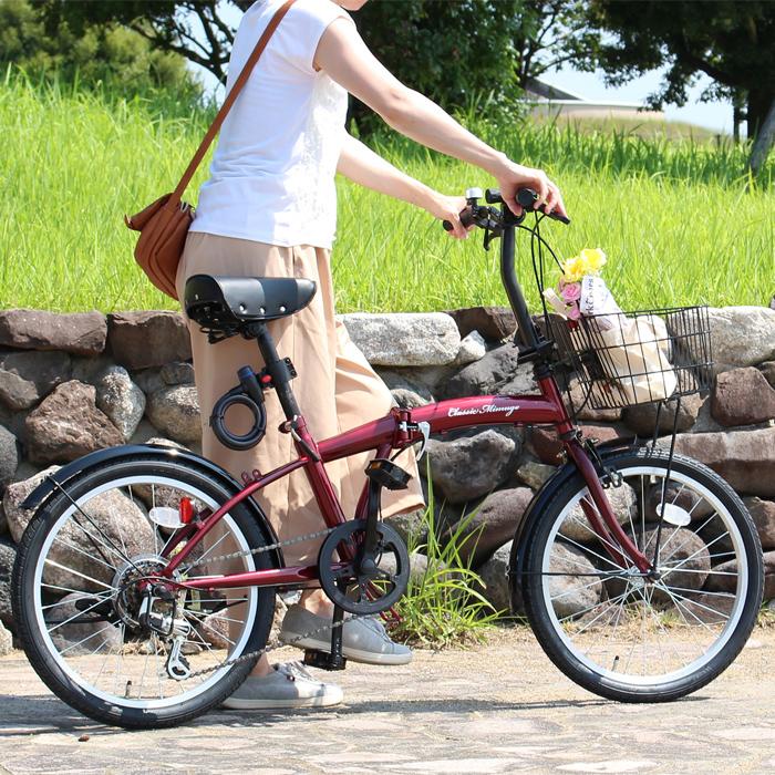 折りたたみ 自転車 20インチ クラシックミムゴ シマノ製6段変速 20インチ 折りたたみ自転車 レッド X0111 0228
