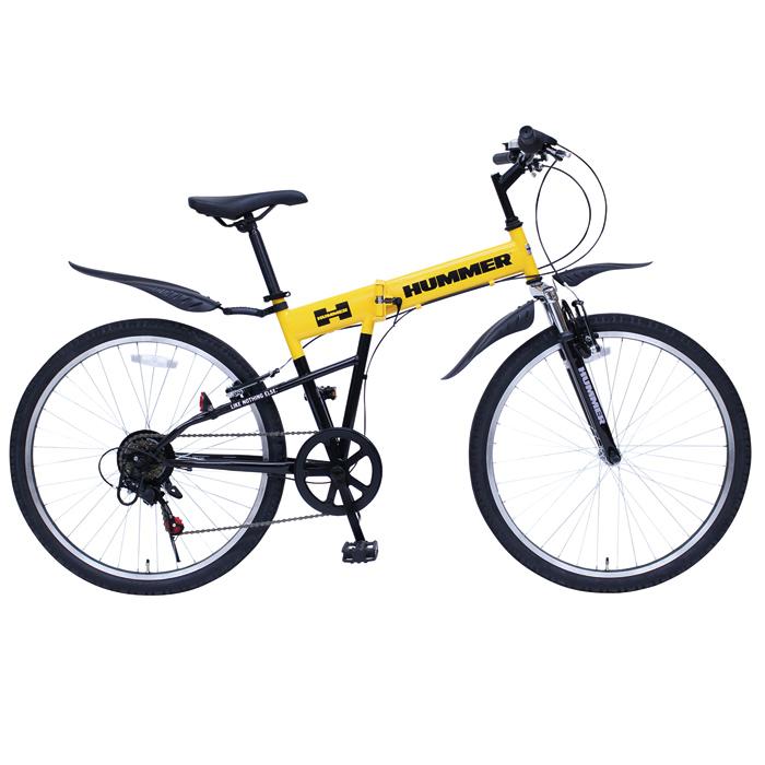 HUMMER ハマー 折りたたみ 自転車 26インチ シマノ製 6段変速ギア マウンテンバイク 26インチ 折りたたみ自転車 イエロー X0111