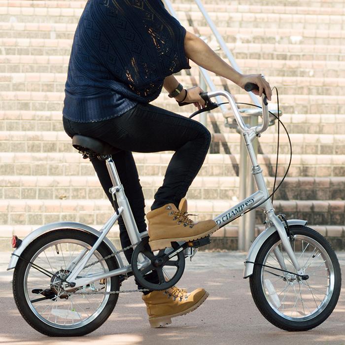 折りたたみ 自転車 16インチ FIELD CHAMP シンプル 16インチ 折りたたみ自転車 シルバー X0111