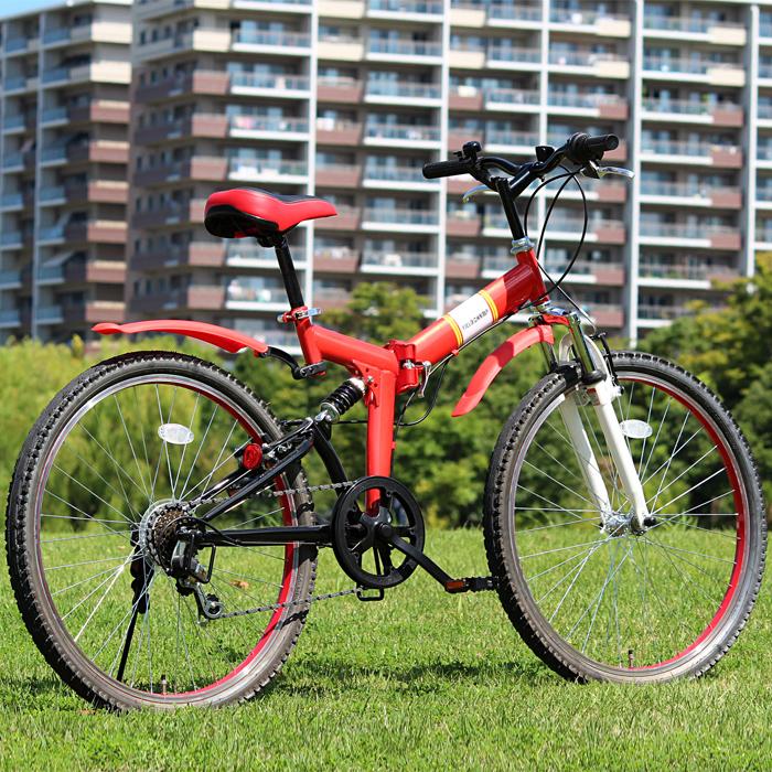 折りたたみ 自転車 26インチ FIELD CHAMP シマノ製6段変速 Wサス マウンテンバイク 26インチ 折りたたみ自転車 レッド X0111