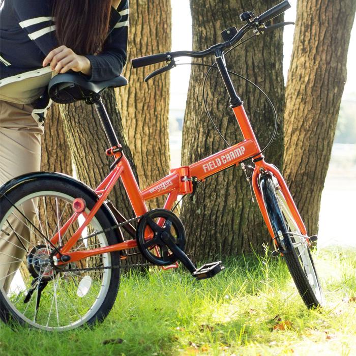 【店内全品ポイント10倍&クーポン割引!5/7(木)9:59迄】折りたたみ 自転車 20インチ FIELD CHAMP シングルギア シンプル 20インチ 折りたたみ自転車 オレンジ X0111 新生活 プレゼント