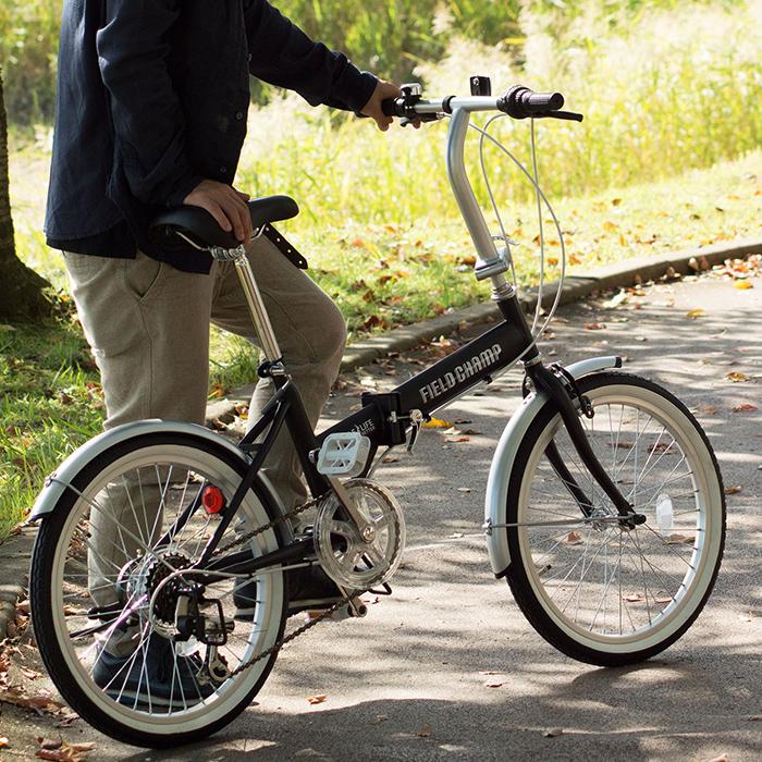 折りたたみ 自転車 20インチ FIELD CHAMP シマノ製 6段変速 20インチ 折りたたみ自転車 ブラック X0111