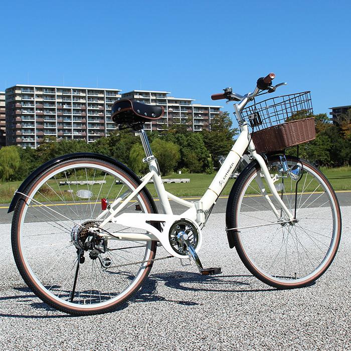 CITROEN シトロエン 折りたたみ 自転車 26インチ シティサイクル シマノ製 6段変速ギア 26インチ 折りたたみ自転車 バニラホワイト X0111 0228