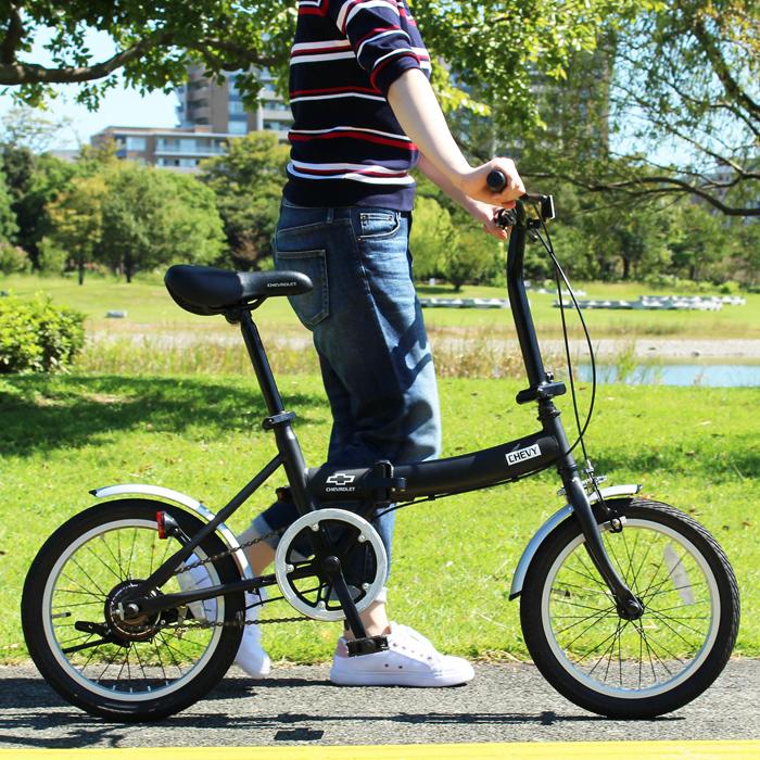 CHEVROLET シボレー 折りたたみ 自転車 16インチ シングルギア シンプル 16インチ 折りたたみ自転車 ブラック X0111 0228