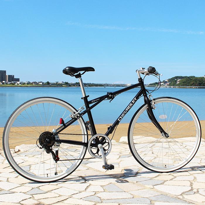 CHEVROLET シボレー 折りたたみ 自転車 700c シマノ製 6段変速ギア クロスバイク 折りたたみ自転車 ブラック X0111 0228