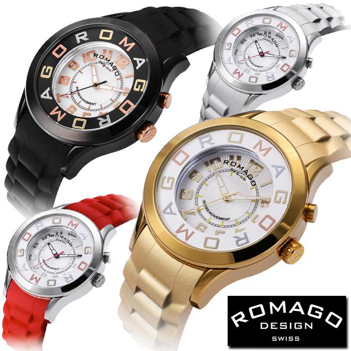 腕時計 メンズ レディース ブランド 1年保証 正規 ROMAGO ロマゴ ATTTRACTION ミラー文字盤 45mmフェイス腕時計 BOX付 RM1016