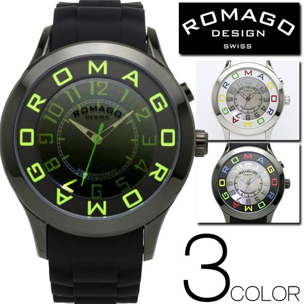 ★新色★腕時計 メンズ レディース ブランド 1年保証 正規 ROMAGO(ロマゴ) ATTRACTIONミラー文字盤 ビッグフェイス腕時計 BOX 保証書付き