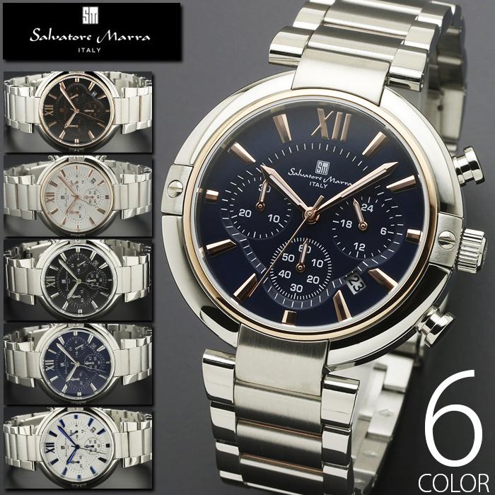 10気圧防水 クロノグラフ 腕時計 メンズ 1年保証 全6色 正規 Salvatore Marra サルバトーレ マーラ クロノグラフ 腕時計 BOX 保証書付 AOR-A