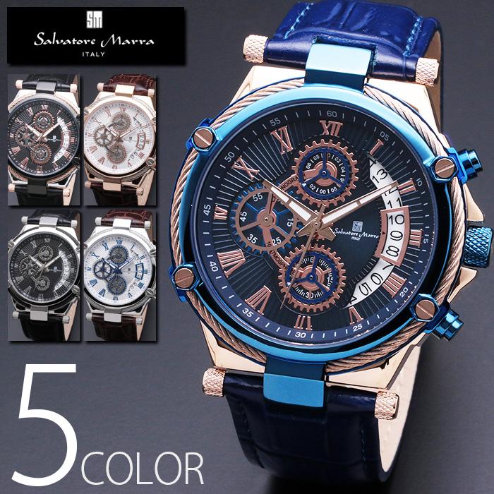 10気圧防水 クロノグラフ 腕時計 メンズ 1年保証 全5色 正規 Salvatore Marra サルバトーレ マーラ クロノグラフ 腕時計 BOX 保証書付 0522