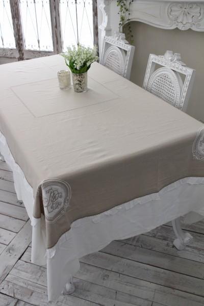 フランスから届くフレンチリネン テーブルクロス 160×250cm ナプキン付き (ベージュ×ホワイト) 【Blanc de Paris】 テーブルクロス 麻 モノグラム刺繍 シャビーシック アンティーク風 フレンチカントリー フランス
