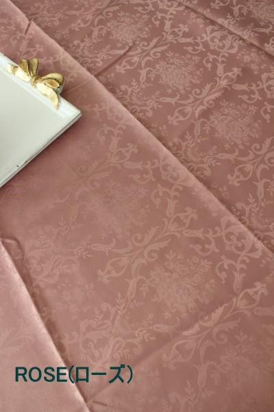 テーブルクロス ダマスクローズ 撥水 フリークロス 140×200 長方形 はっ水 ダマスク柄 薔薇 フレンチカントリー 姫系 オフホワイト ローズ グリーン ライトブラウン レターパックOK