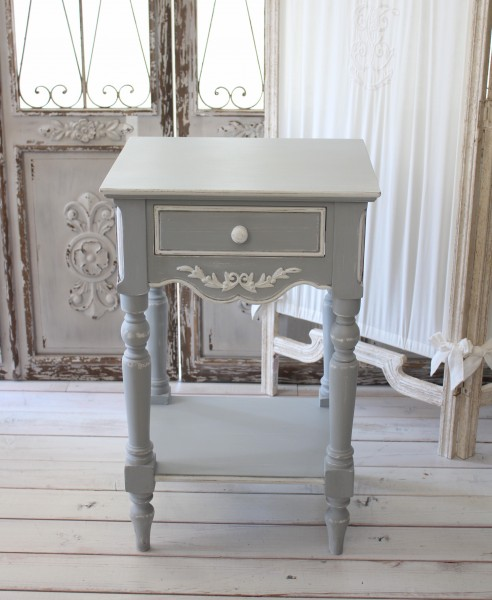 Bon Country Corner ROMANCE Romance Collection French Grey Nightstand Bedside  Table Telephone Units France White Furniture Imported Home Furniture  Antique ...