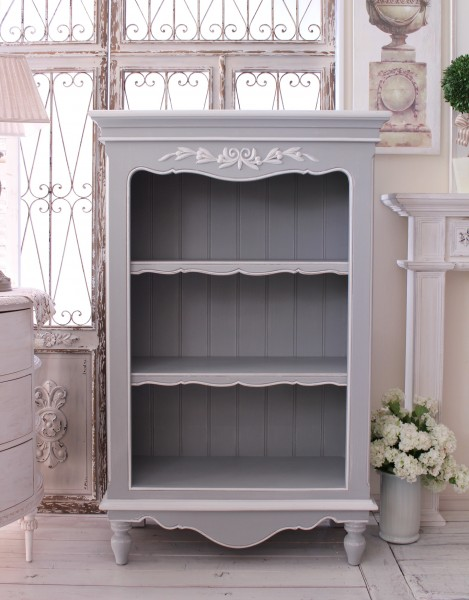 Country Corner ROMANCE Romance Collection French Grey Three Shelf Bookcase Display Rack Bookshelf France Home Fixture White House K