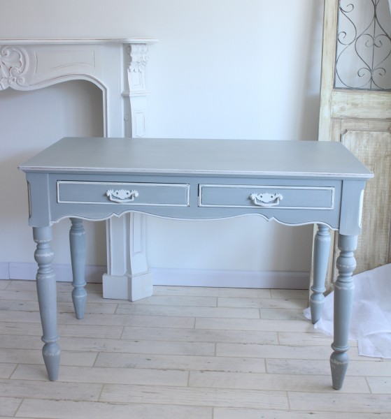 Country Corner Romance Collection French Grey Desk 2 Drawers White House Fixture France Computer Dresser Antique 121151