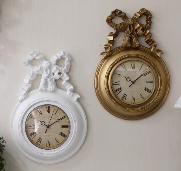 リボンモチーフの掛け時計(ホワイト・ゴールド) クォーツ掛け時計 ウォールクロック 輸入雑貨 アンティーク風 雑貨 シャビーシック フレンチカントリー 姫系