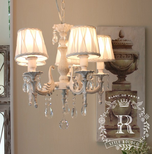 姫系 シャビーシック アンティーク風 LED シャンデリア 5灯 アンティークホワイト 白 フレンチ 天井照明