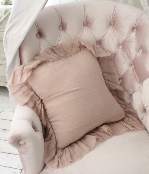 リネンフリルクッションカバー ピンク 45cm角(フラター) リネン100% 布製 クッションカバー フレンチカントリー シャビーシック ソファ 布 TAMTAM