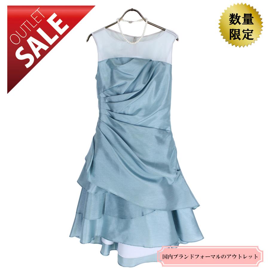 【68%OFF!】結婚式 ドレス 二次会  華やかフリルシャンタンドレス9号(ライトブルー)