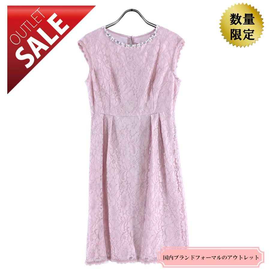 【64%OFF!】ひざ丈ドレス 結婚式 二次会 |オーバースカート付レースドレス9号(ピンク)