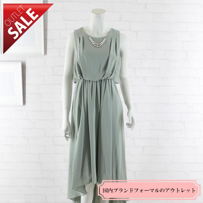 【54%OFF!】ドレス セール 結婚式ドレス 二次会 ロング  テールカットミモレ丈ドレス9号(ミント)
