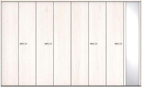 ハピアプレミア クローク収納 折戸ユニット フラットタイプ ミラー扉 銘木ウッド調 固定枠尺モジュール 四方枠 2300高 3327幅(12尺間口) アッシュ柄(ネオホワイト) 大建工業の建具 ハンドル付きタイプのドア