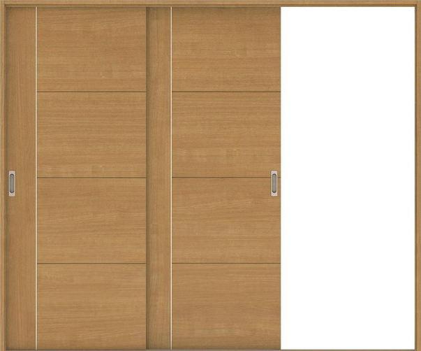 ハピアベイシス 引戸・2枚片引 D1デザイン扉セット  2432幅 ティーブラウン 大建工業の建具