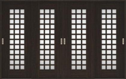 店舗受け取り限定 ハピアベイシス 引戸・4枚引違 79デザイン扉セット  3255幅 オフブラック 大建工業の建具