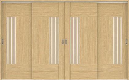 ハピアベイシス 吊戸・4枚引違 76デザイン扉セット 2000高 3255幅 ライトオーカー 大建工業の建具