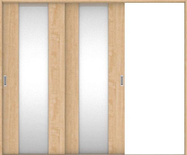 店舗受け取り限定 ハピアプレミア 引戸・2枚片引 4Pデザイン扉セット  2432幅 メープル柄(ミルベージュ) 大建工業の建具