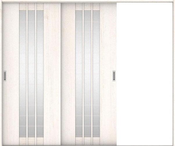 店舗受け取り限定 ハピアプレミア 引戸・2枚片引 4Sデザイン扉セット  2432幅 アッシュ柄(ネオホワイト) 大建工業の建具