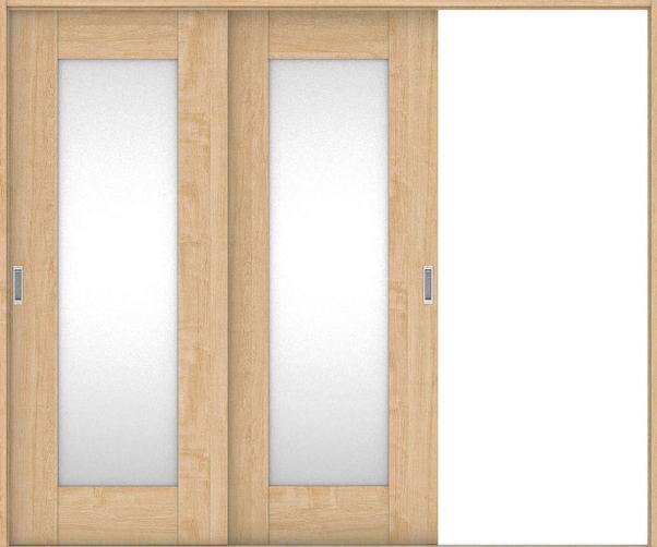 店舗受け取り限定 ハピアプレミア 引戸・2枚片引 5Pデザイン扉セット  2432幅 メープル柄(ミルベージュ) 大建工業の建具