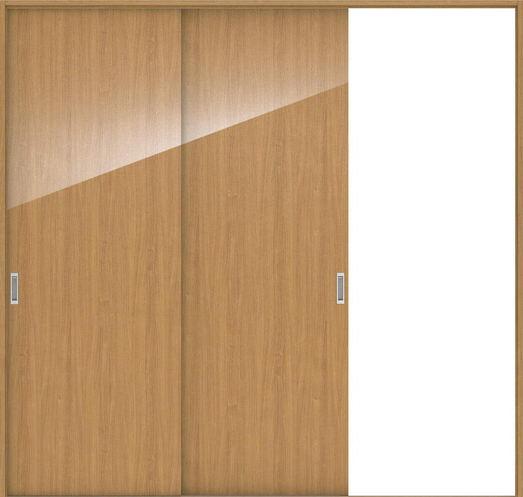 店舗受け取り限定 ハピアプレミア 引戸・2枚片引 0Pデザイン扉セット  2432幅 チェリー柄(ティーブラウン) 大建工業の建具
