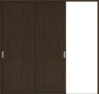 ハピアプレミア 引戸・2枚片引 2Sデザイン扉セット  2432幅 アッシュ柄(オフブラック) 大建工業の建具
