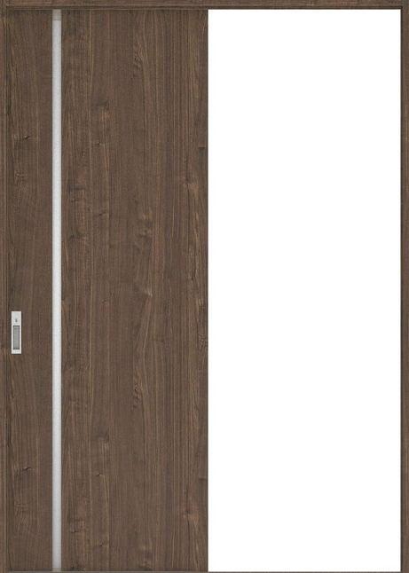 ハピアプレミア 引戸・片引 2Cデザイン扉セット  錠付・明かり窓なし ウォールナット柄(ダルブラウン) 大建工業の建具
