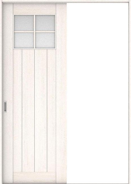 店舗受け取り限定 ハピア 引戸・片引 1Sデザイン扉セット  錠なし・明かり窓なし アッシュ柄(ネオホワイト) 大建工業の建具