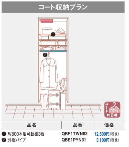 クロークボックス コート収納プラン プレミアム仕様 ミラーなし PC-0823 幅:800mm 高さ:800mm