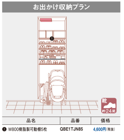 クロークボックス お出かけ収納プラン スタンダード仕様 ミラー付き SD-0823M 幅:800mm 高さ:800mm