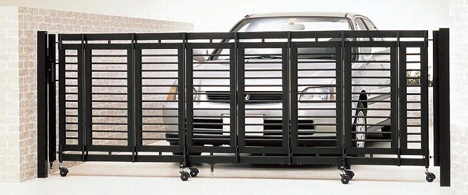 折戸式伸縮門扉 シャレオ伸縮 1型 両開き 530W アルミ ゲート 門扉 フェンス コンパクト 収納 リクシル TOEX