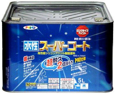【2セット】アサヒペン 水性ス-パ-コート 白 塗料 5.0L