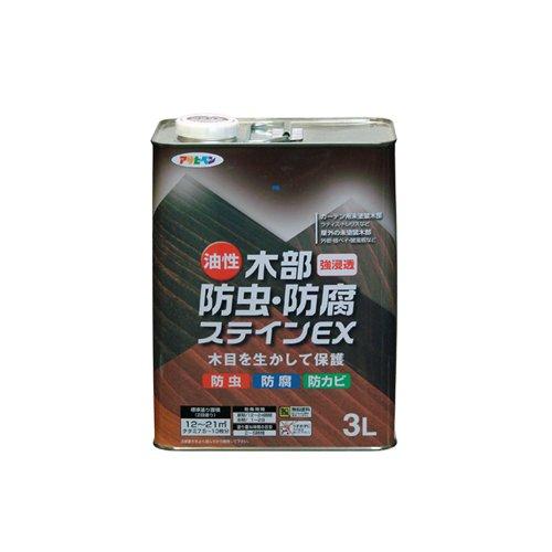 【4セット】アサヒペン 油性木部防虫・防腐ステインEX 3L 塗料 ライトオーク
