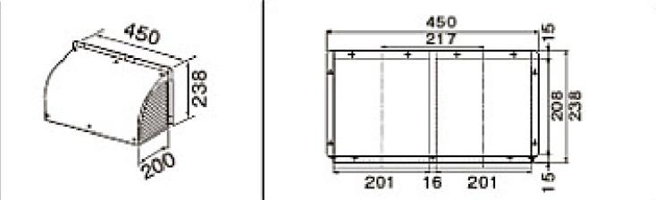 同時給排気用化粧カバー(金属製) レンジフード部材 ラクエラ(クリナップ商品対応) RH-FLV
