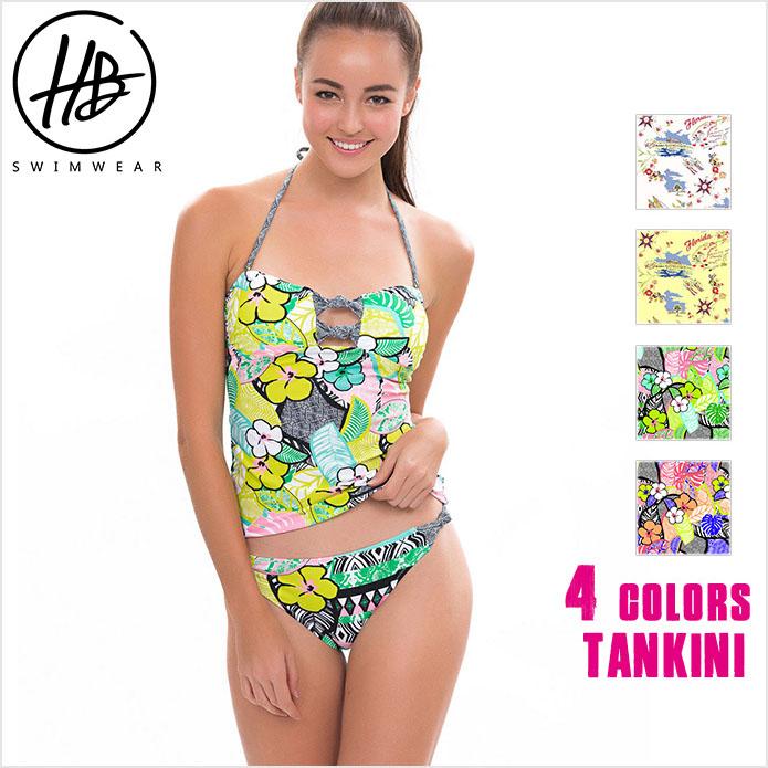【HoneyBonnie】 新作水着 Tankini タンキニ フラワー柄 体型カバー 大人 セクシー 水着 送料無料 SummerQueen