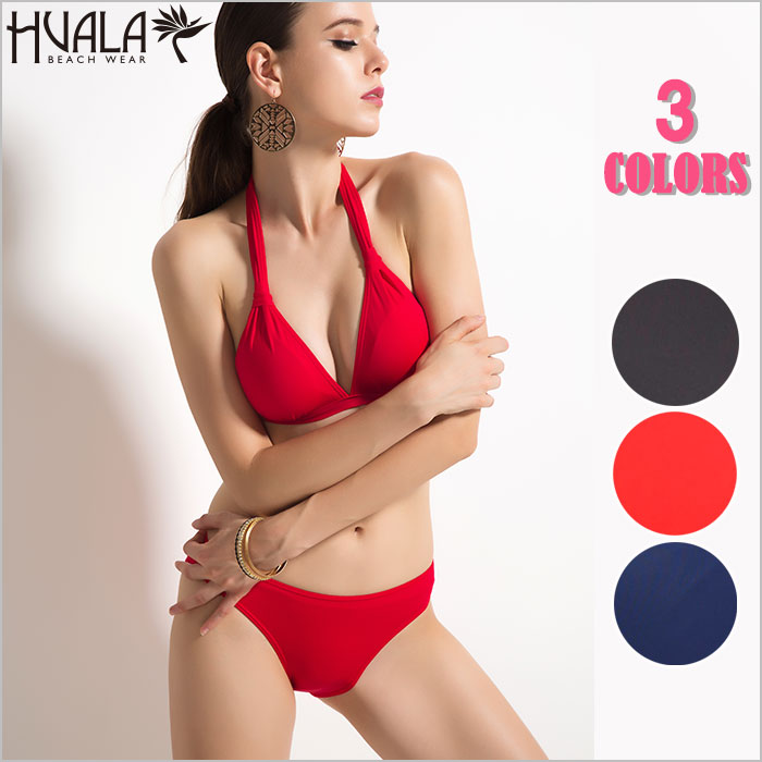 a4ff4688d31eb New work swimsuit plain fabric red navy black HalterBikini Halter triangle  bikini adult sexy swimsuit bikini two points set SummerQueen
