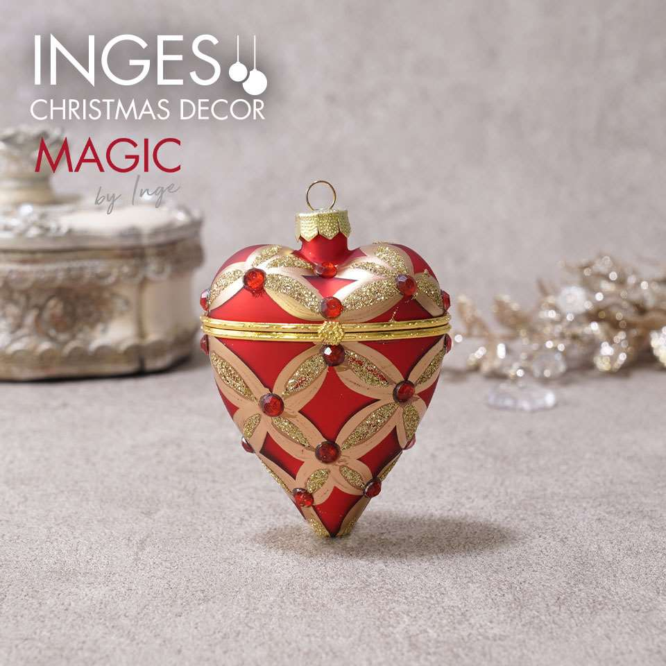 SUNGOOD オーナメント ドイツINGE-GLAS 授与 本物 インゲ グラス 単品 オープンハートクリスマス INGE-GLAS マジック インゲグラス ジュエリーボックス MAGIC