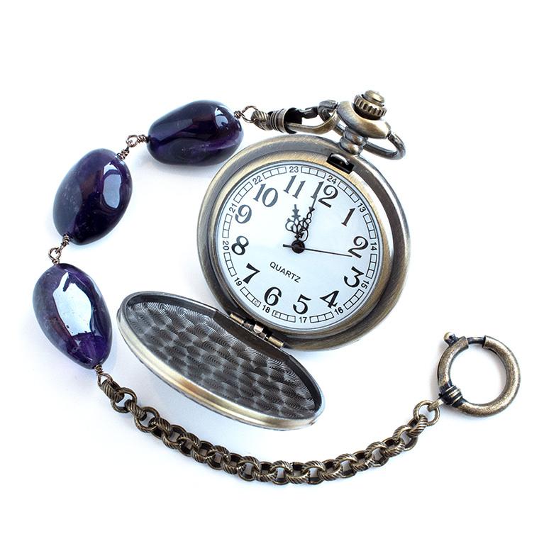 懐中時計用バッグチャームチェーン 天然石アメジスト アンティークゴールド ※懐中時計本体は別売り【メール便/ゆうパケット対応】