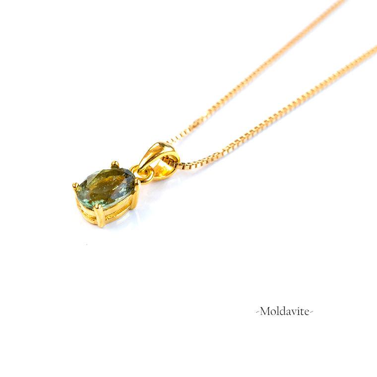 モルダバイトのペンダントネックレス 14KGFゴールドフィルド グリーン 天然石 オーバルカット 40cm ヒーリング 幸福 癒やし 繁栄 Eleanor パワーストーン レディース 女性用