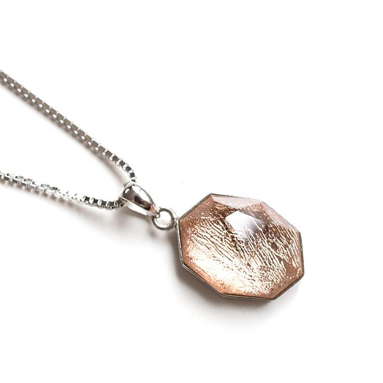ギベオンメテオライトのシルバーペンダントネックレス 40cm SILVER925 ボックスチェーン 隕石 パワーストーン 天然石 レディース 女性用 日本製