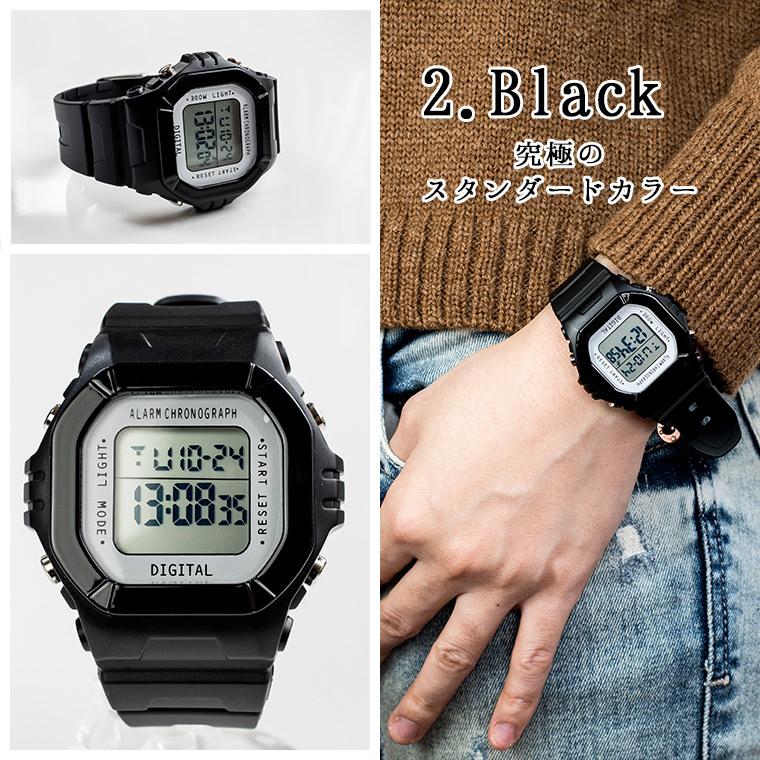 デジタル多機能腕時計 ウォッチ メンズ・レディース ユニセックス 日本製ムーブメント メイドインジャパンムーブメント シンプル ビジネス カジュアル デイリー ストップウォッチ アラーム 時刻・日付・曜日表示 LEDバックライト